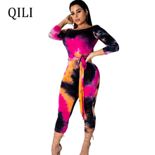 QILI Women Off The Shoulder Long Sleeve Jumpsuits Romper Multi-Color Print Bodycon 3/4 Pants Calf-Length Pants Jumpsuits sky blue stripe off the shoulder 3 4 length sleeves bodycon dress