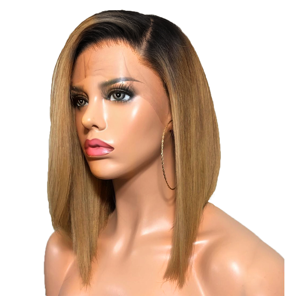 Beeos 150 13 4 Lace Front Human Hair Wigs for Women Ombre Blonde Short Bob Wig