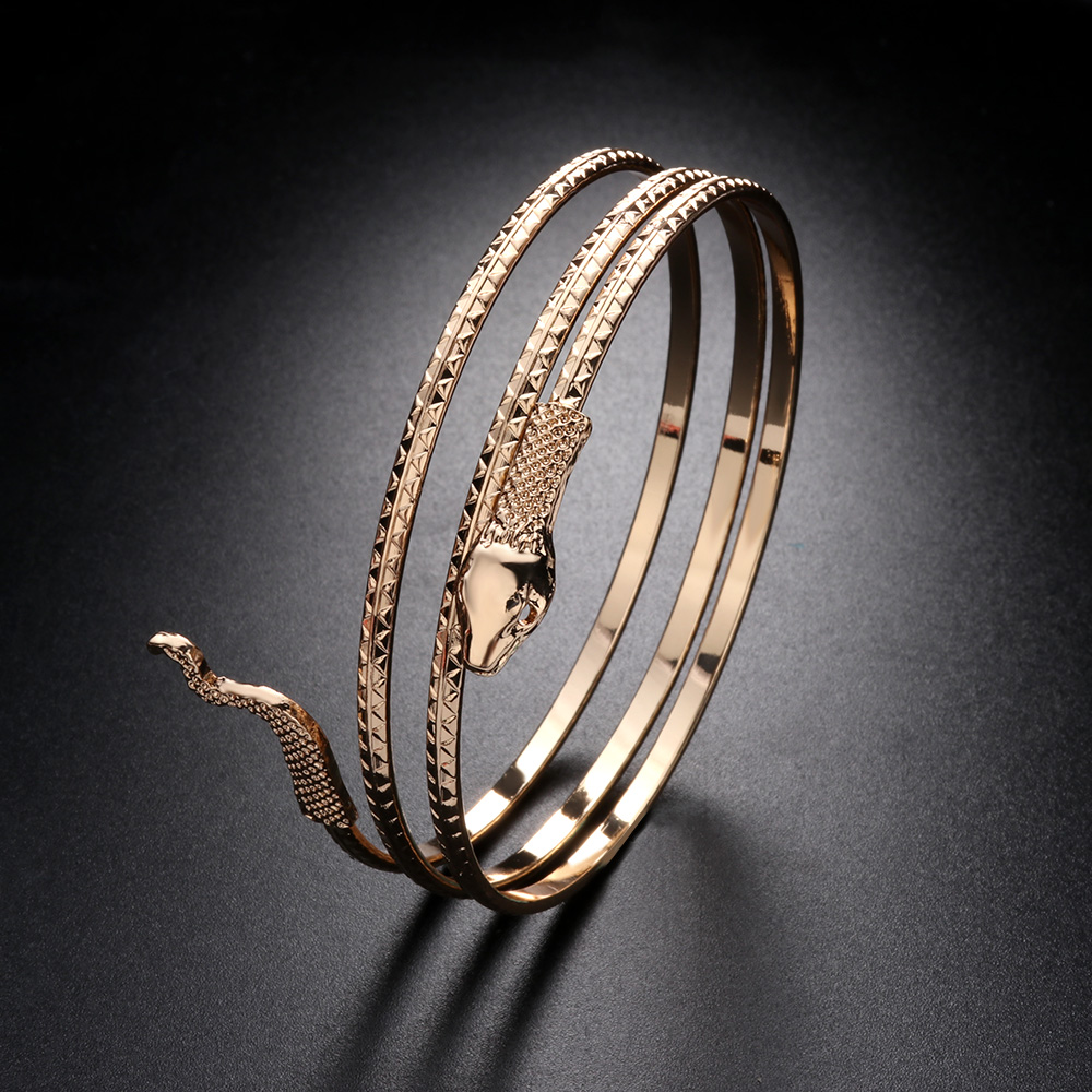 Punk Style Coiled Snake Bangle Bracelet Metal Alloy Silver Gold Color Spiral Upper Arm Cuff Armlet Armband Bangle Jewelry