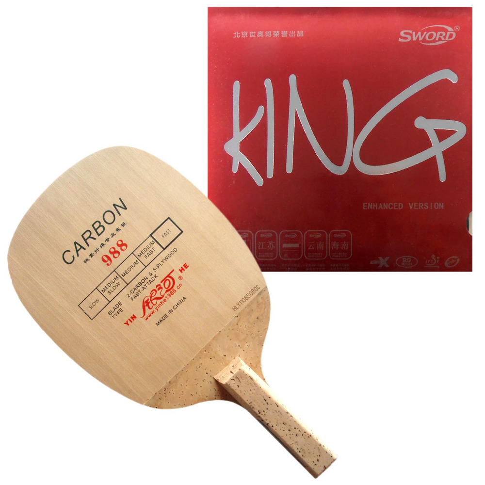 Pro Table Tennis/ PingPong Combo Racket: Galaxy YINHE 988 with Sword KING (Enhanced version) Rubber Japanese Penhold JS pro table tennis pingpong combo racket galaxy yinhe 988 with dhs neo hurricane 3 rubber japanese penhold js