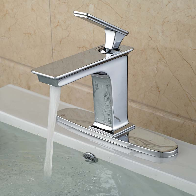 Chrome Finish 8 Hole Cover Bathroom Vessel Sink Basin Mixer Faucet Deck Mount One Hole Water