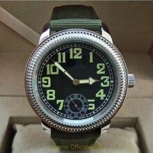 44mm GEERVO black dial Asian 6497 17 jewels Mechanical Hand Wind movement men's