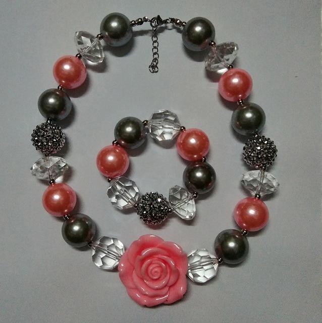 badaec2e56f1 € 5.43  Niñas Lovely Pink Flower collar chunky Cuentas Pulseras de piedras  niños disfraces ourfit joyería Set fiesta de cumpleaños mejor regalo ...