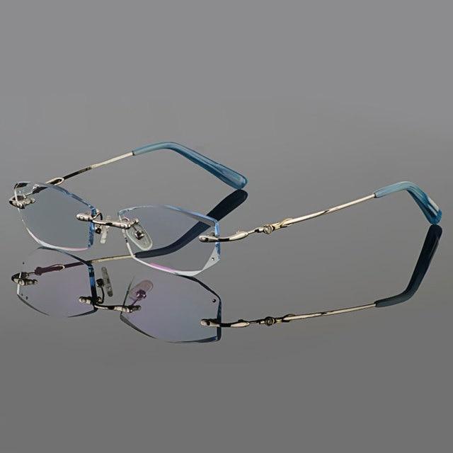 Фантом обрезки титана очки женские модели алмаз кристалл обрезки серебряные оправы очки готовые очки