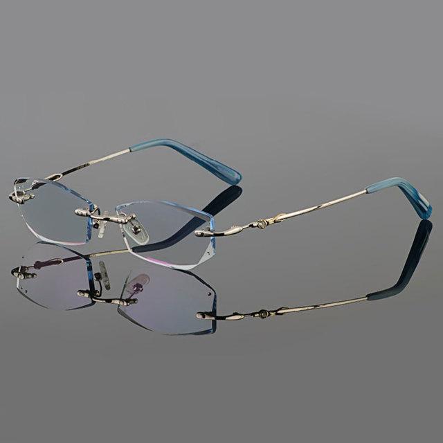 Phantom corte óculos de titânio do sexo feminino modelos de corte de diamante de cristal de prata sem aro óculos óculos de prescrição terminou