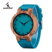 Bobo bird c28 캐주얼 대나무 우드 시계 남성과 여성을위한 터키석 블루 쿼츠 아날로그 시계 선물 상자
