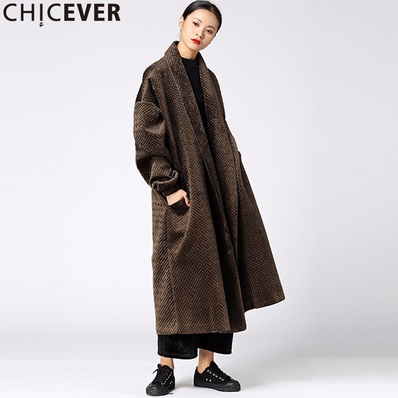 CHICEVER Vintage Black Winter Trench Coat Female Womens Windbreaker Loose Big Size Long Women Basic Coats Fashion 2017 Casual