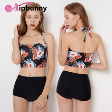 Women's Pineapple Floral Printed Girl Open Back Halter Top & BoyShorts Set Bath Sexy Beach bikini Swimwear Big Swimsuit sexy halter neck open back flower pattern bikini set for women