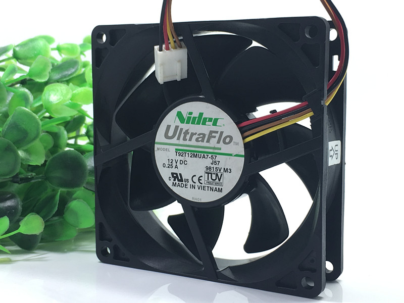 Original Nidec 9025 9CM T92T12MUA7-57 12V 0.25A 4-wire temperature controlled mute fan