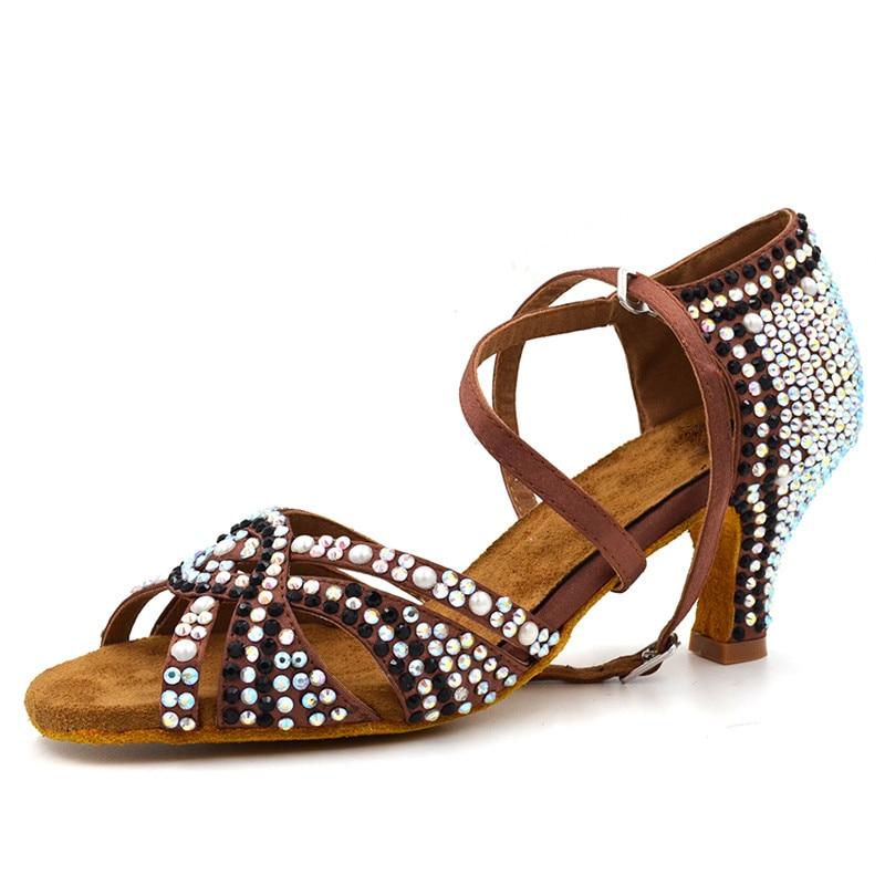 Size US 4-12 Zapatos De Baile Comfortable Women Latin Dancing Shoes Satin Salsa 6cm Heel Height Brown With Pearl L-149 цены онлайн