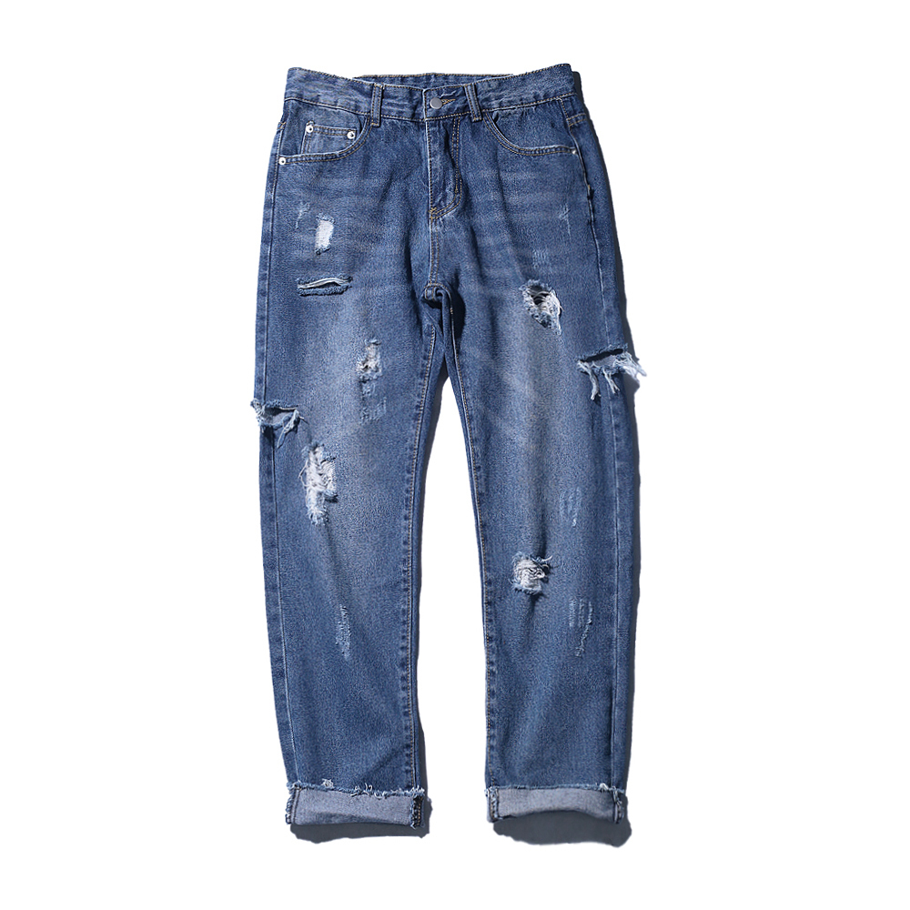 2018 Spring summer new fashion ripped jeans blue male han edition harlan trend slim pants handsome baggy Free shipping