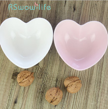 Heart-shaped Ceramic Bowl Pink Peach Heart White Snack Dish Sauce Dishs For Home Kitchen Utensils Trinket