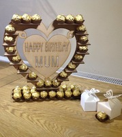 Personalised Wooden heart shape Chocolate Stand with your name or text