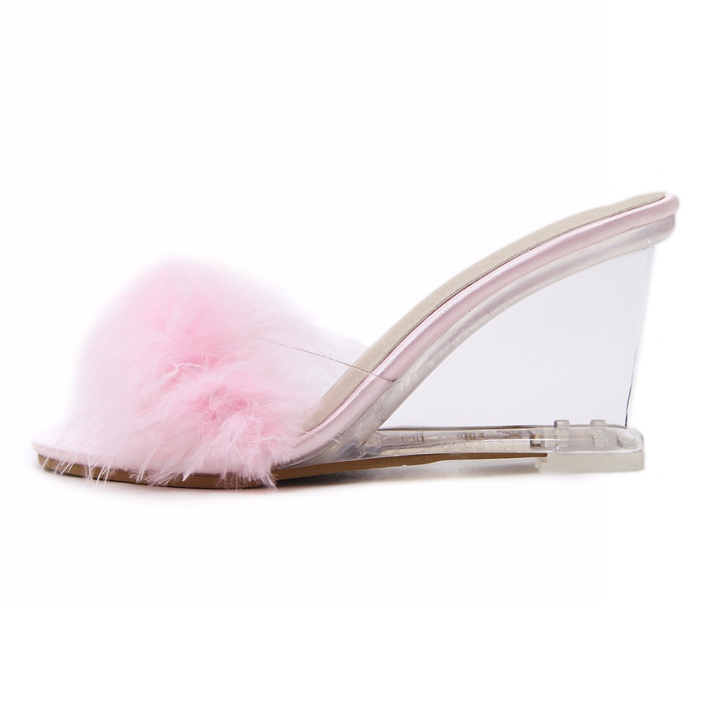 3 Color Female Slipper 35-40 Women Shoes Slides Ultra-high-heeled 8.5cm Feather Wedges Crystal Transparent Wedding Shoes 35
