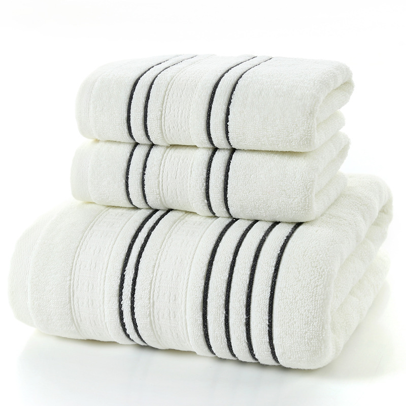 Simple stripes 100% Cotton Bath towel Sets white gray Beach Towels for Adults Luxury Brand High Quality Soft face Towel bathroom