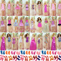 Randomly Pick  24 Pcs Original  Doll Dress Princess Skirt +10 Pair Heels Shoes For Barbie Doll best baby christmas gift Baby Toy