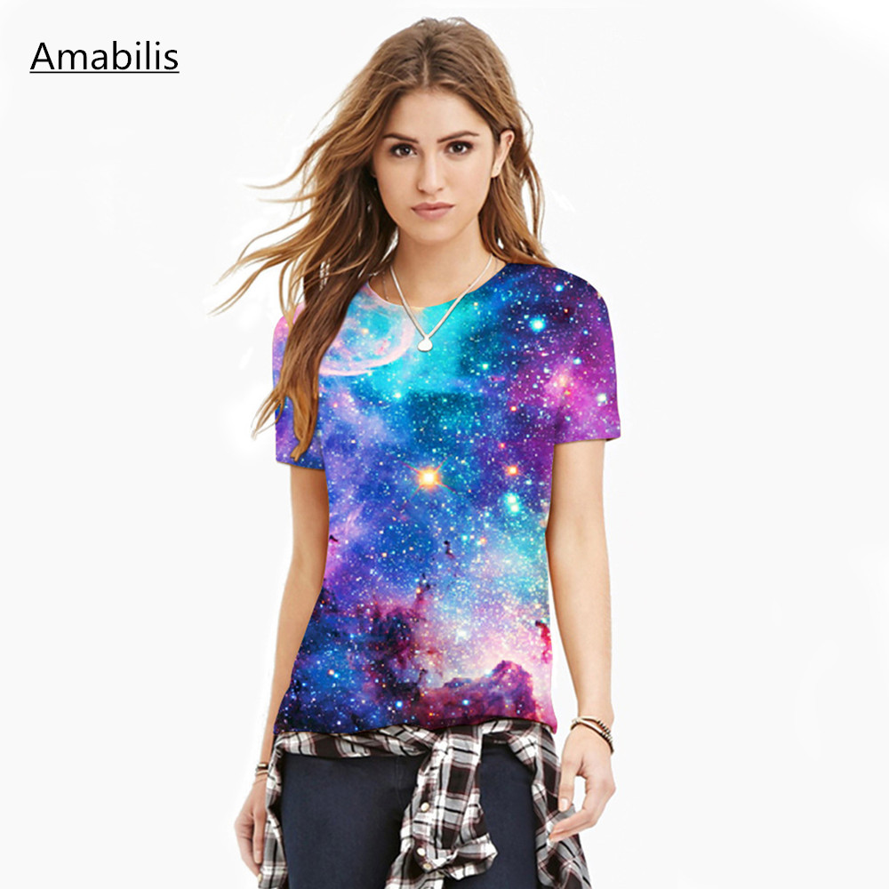 HTB11TfFQXXXXXbBXVXXq6xXFXXXJ - T-shirt blue sky digital print 3D short-sleeved women's shirt