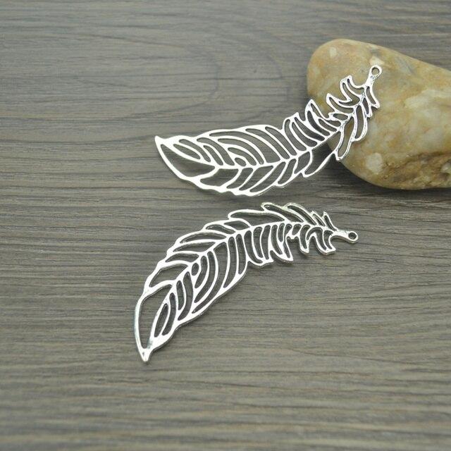 6 pcs/lot Leaves Antique Silver Plated Bracelets Charm Pendants Fashion Jewelry