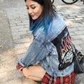 BringBring 2016 Весна Осень Harajuku Письма Джинсовый Жакет Женщины Свободные Отверстия Рваные Джинсы Куртка BF стиль куртки mujer 1572