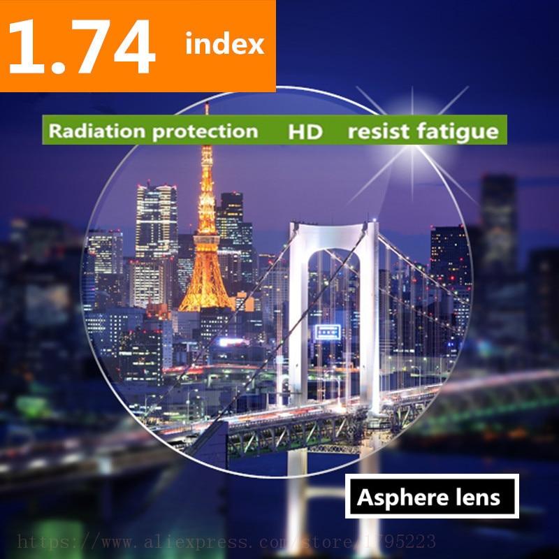 Lentilles de lentille en résine asphérique transparente à indice élevé 1.74 Thiner HMC, lentilles de Prescription asphère pour myopie/hyperopie/presbytie 2 pièces