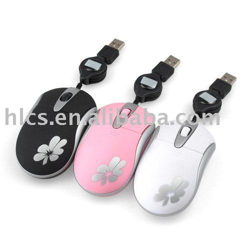 Mini USB Scrolling Wheel Laptop Notebook Precise Optical Retractable Cable Mouse Mice#1248