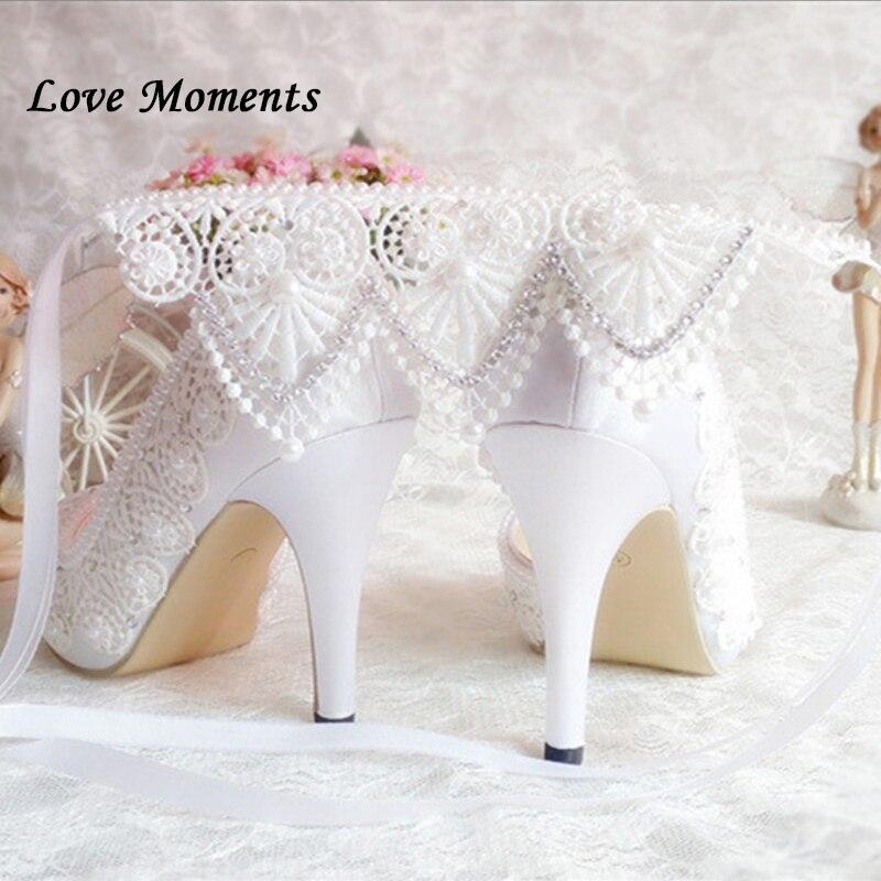 Nouvelle arrivée à talons hauts blanc à lacets chaussures de mariée femmes pompes à la cheville sangle Peep Toe fille fête talon chaussures femme bout ouvert