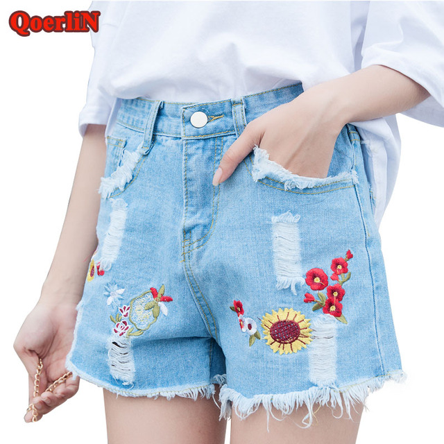 891310666b QoerliN Embroidery Floral Ripped Denim Shorts Girls Summer Holes Hollow Out  Fashion Short Jeans Sunflower Washed Short Trouser