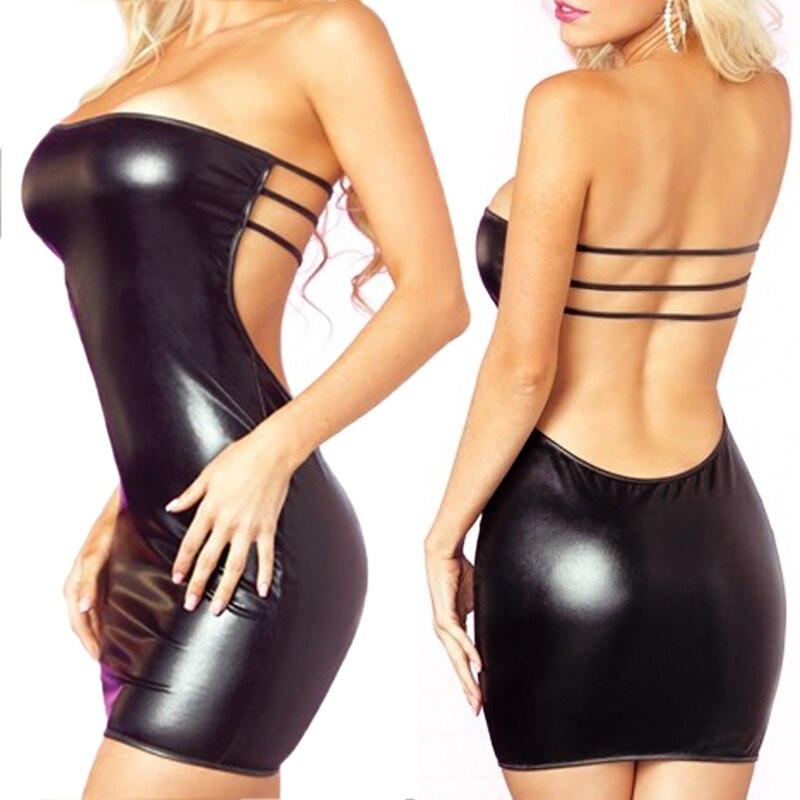 Womens Sexy Slash Neck Faux Leather Dress+ T-back Minidress Lingerie Set