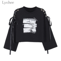 Lychee Spring Autumn Women Crop Sweatshirt Letter Print Lace Up Bandage Long Sleeve Casual Pullover Tracksuit