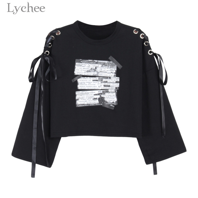7a00b31014099 Lychee Spring Autumn Women Crop Sweatshirt Letter Print Lace Up Bandage Long  Sleeve Casual Pullover Tracksuit