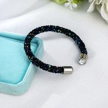 Изысканный браслет-кафф с кристаллами брендовые Открытые Браслеты Pulseira Feminina для женщин Bijoux новые модные ювелирные изделия подарочные браслеты