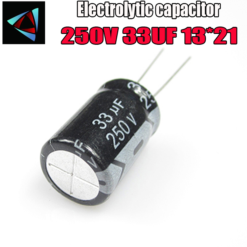 5PCS Higt Quality 250V 33UF 10*21mm 33UF 250V 10*21 Electrolytic Capacitor