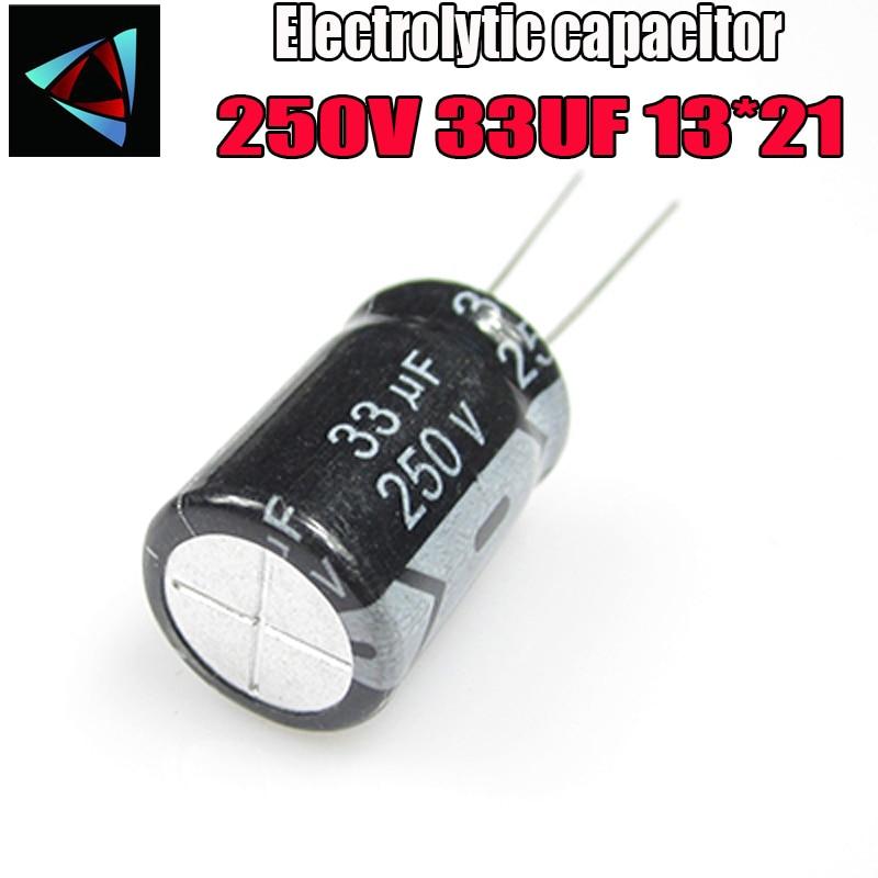 5PCS Higt Quality 250V 33UF 10*21mm 33UF 250V 10*21 Electrolytic Capacitor
