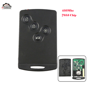 4 button keyless Renault Remote smart key 433mhz hitag AES 7953 chip for renault Clio 4 key Hand free after 2013 key