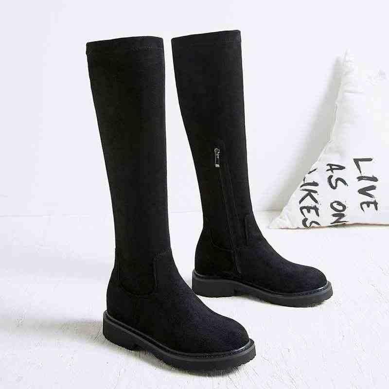 Krazing Pot akın malzeme 2019 yuvarlak ayak binici çizmeleri gladyatör soba borusu kadın sıcak tutmak kalın alt over-the-diz çizmeler L11