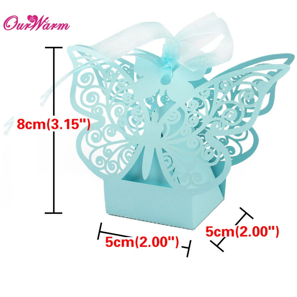 50pcs lot butterfly candy box wedding favors and gifts box for Wedding decoration stores near me