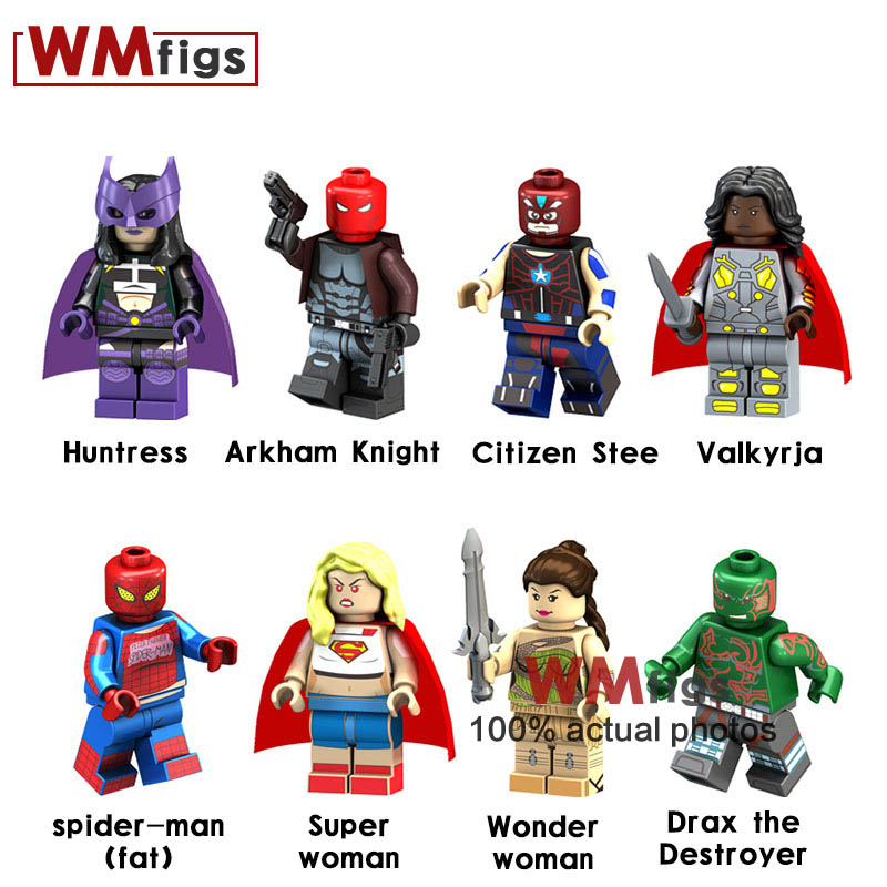 Blocks Toys & Hobbies 8pcs/lot Huntress Citizen Stee Valkyria Fat Spider-man Super Wonder Woman Heroes Figures Bricks Building Blocks Kids Toys Gifts Relieving Heat And Thirst.