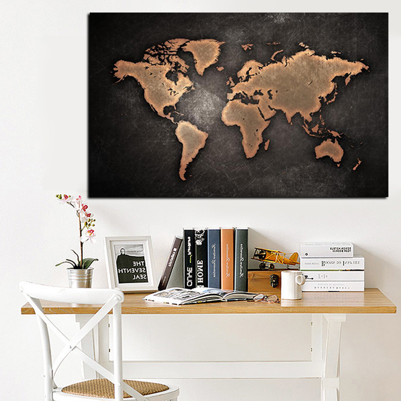 Abstract 3D World Map Canvas Painting Classical Black World Map Print On Canvas for Office Room Picture Wall Art Cuadros Decor (2)