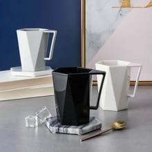 Геометрическая чашка с ручкой для полоскания рта для ванной, кружки, парные молочный напиток, чашки для зубной щетки
