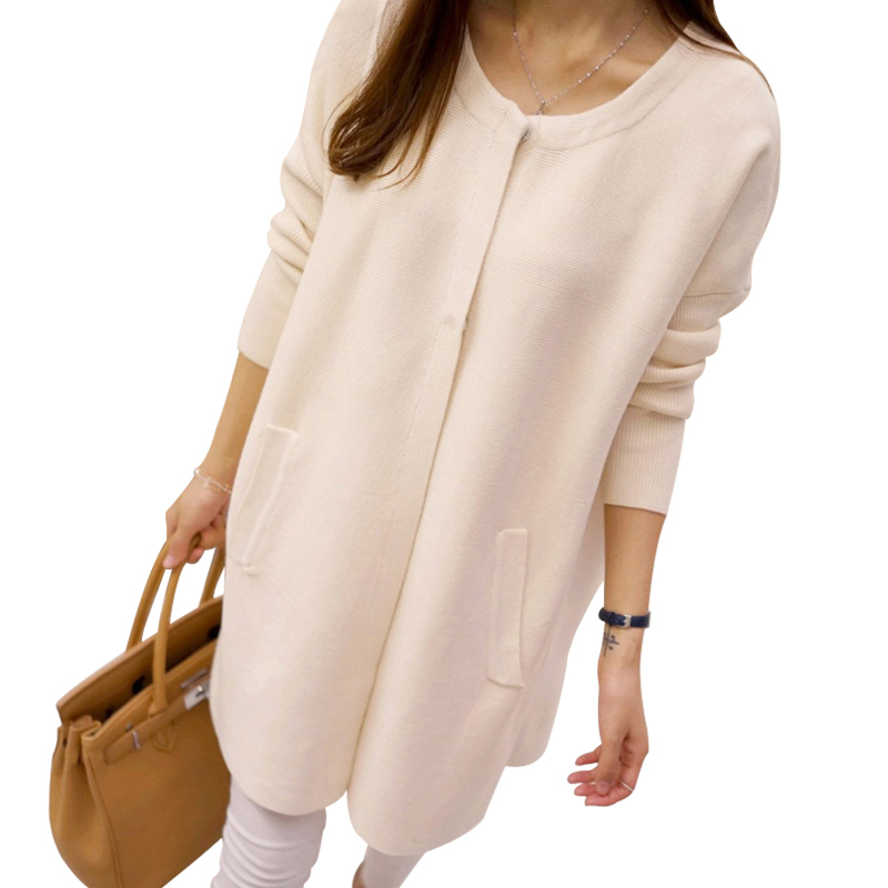 TIGENA New Arrivals Covered Button Long Cardigan Female 2017 Long Sleeve Knit Cardigans Women Autumn Winnter Sweater Poncho