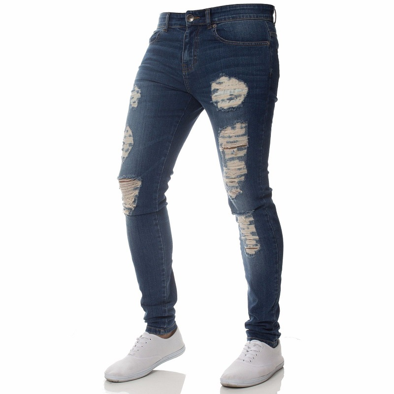 Fashion Men Slim Skinny Jeans Wrinkle in Knee Hip Hop Pencil Pants Zipper Male Ripped Casual Holes Trousers Boy Dropshipping in Jeans from Men 39 s Clothing
