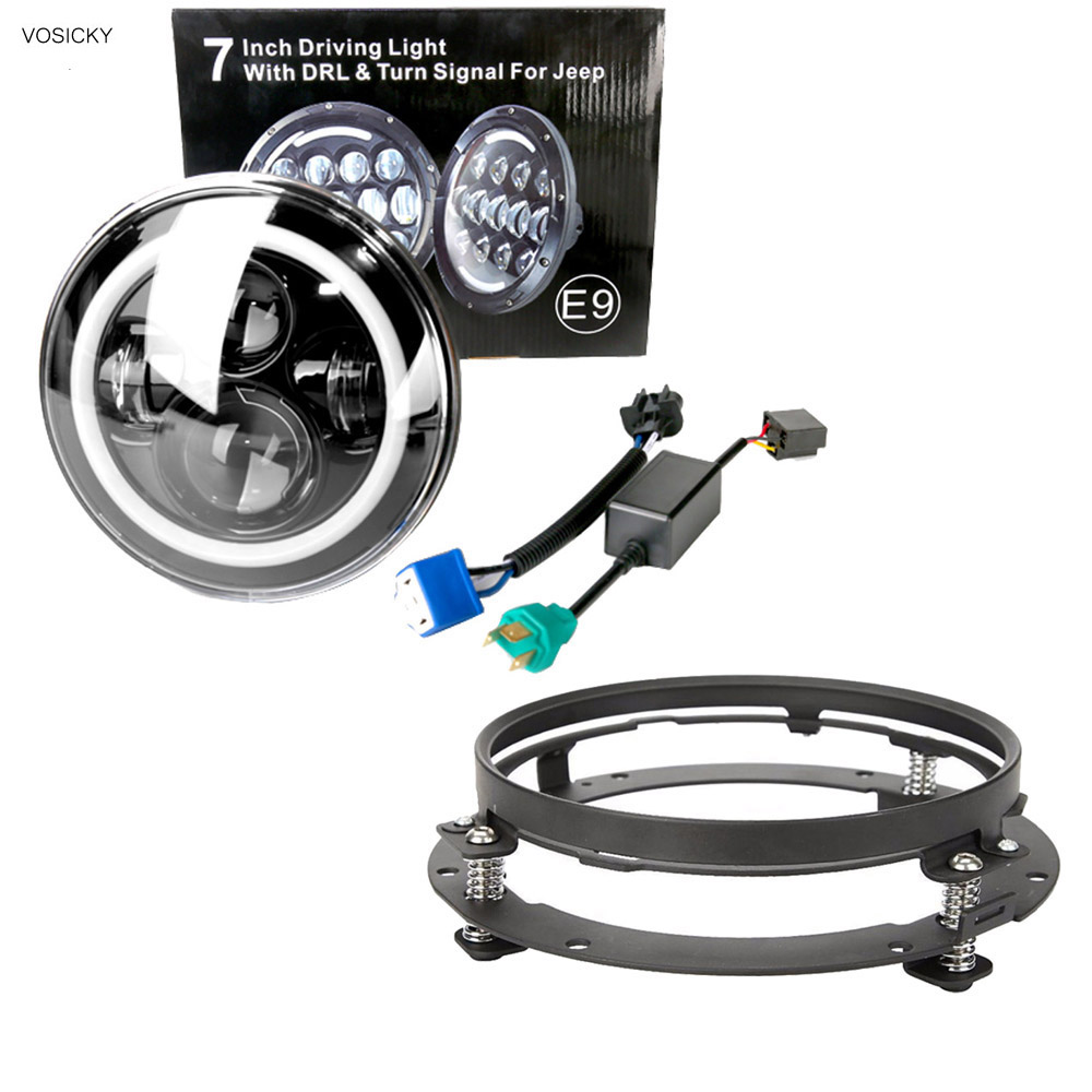 7 светодиодные фары H4 Привет-Ло луч Daymaker гало ДРЛ сигнала поворота света с 7-дюймовый кронштейн фары кольцо поддержка для Harley