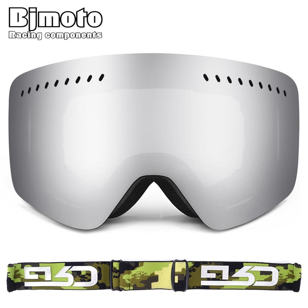 Bjmoto зимние мотоциклетные очки Открытый UV400 двойной линзы 3 Слои пены спорт Сноуборд горнолыжные очки маска Лыжный спорт снег шлем маска