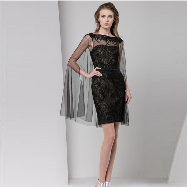 Aliexpress.com : Buy Black Lace Sheath Mini Cocktail Dresses With ...