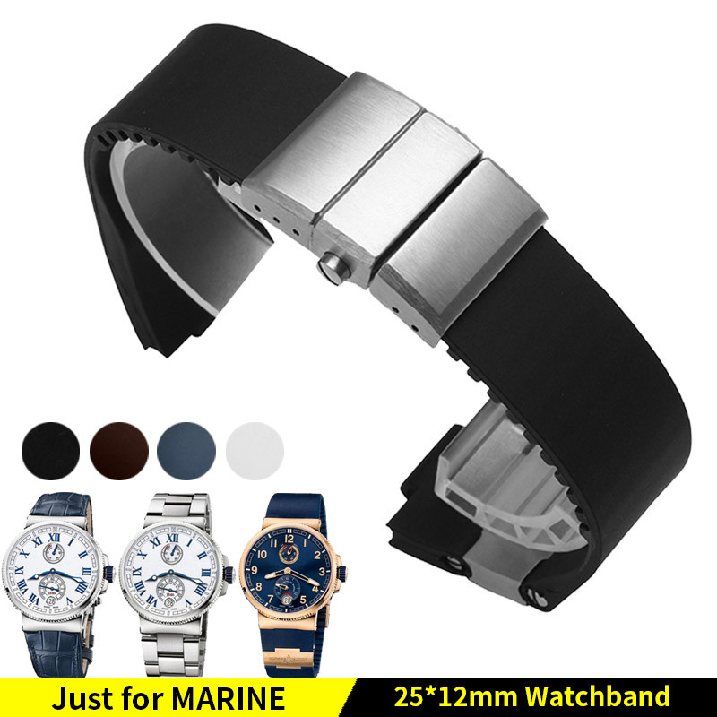 Waterproof Rubber Watchband Steel Buckle Silicone Watch Band Strap for Ulysse Nardin 263 MARINE 1183 BLUE SEAL 25x12mm+Tools jansin 22mm watchband for garmin fenix 5 easy fit silicone replacement band sports silicone wristband for forerunner 935 gps