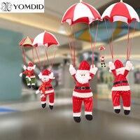 Новогодние рождественские украшения парашют Санта Клаус Снеговик Рождественская елка висячие украшения домашняя вечерние фестиваль пода...