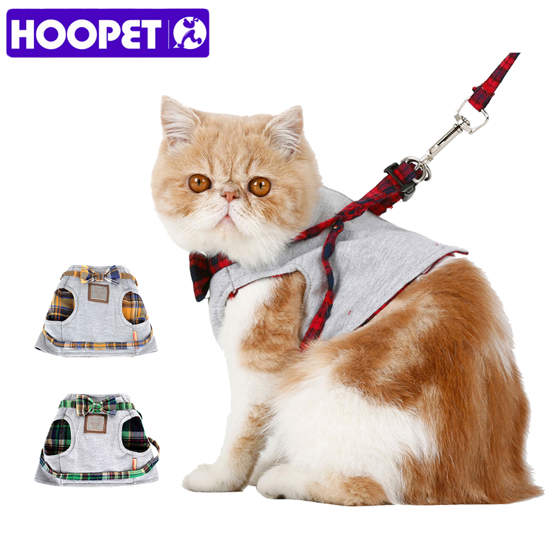 HOOPET Samll Cat Dog Harness Walking Fabric Harness Jacket+Leash Set 2 Size Fashion Design High Quality British Style