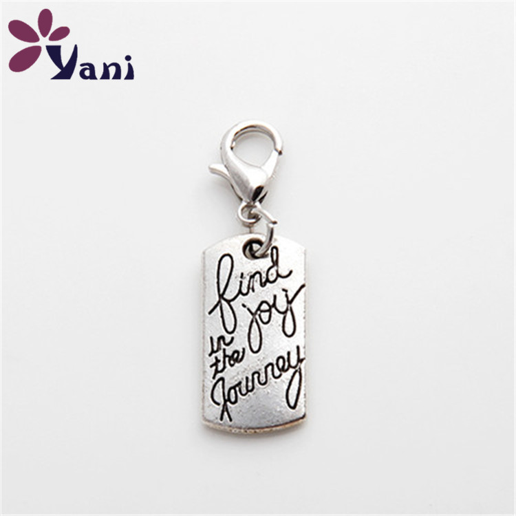 20pcs/lotWholesale Alloy Metal Tag Charms for Glass Memory Locket Charms with Lobster Clasp Pendant