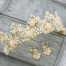 High Quality Vintage Ceramic Flower Pearls Rhinestone Crystal Wedding Crown Set Wedding Hair Accessories