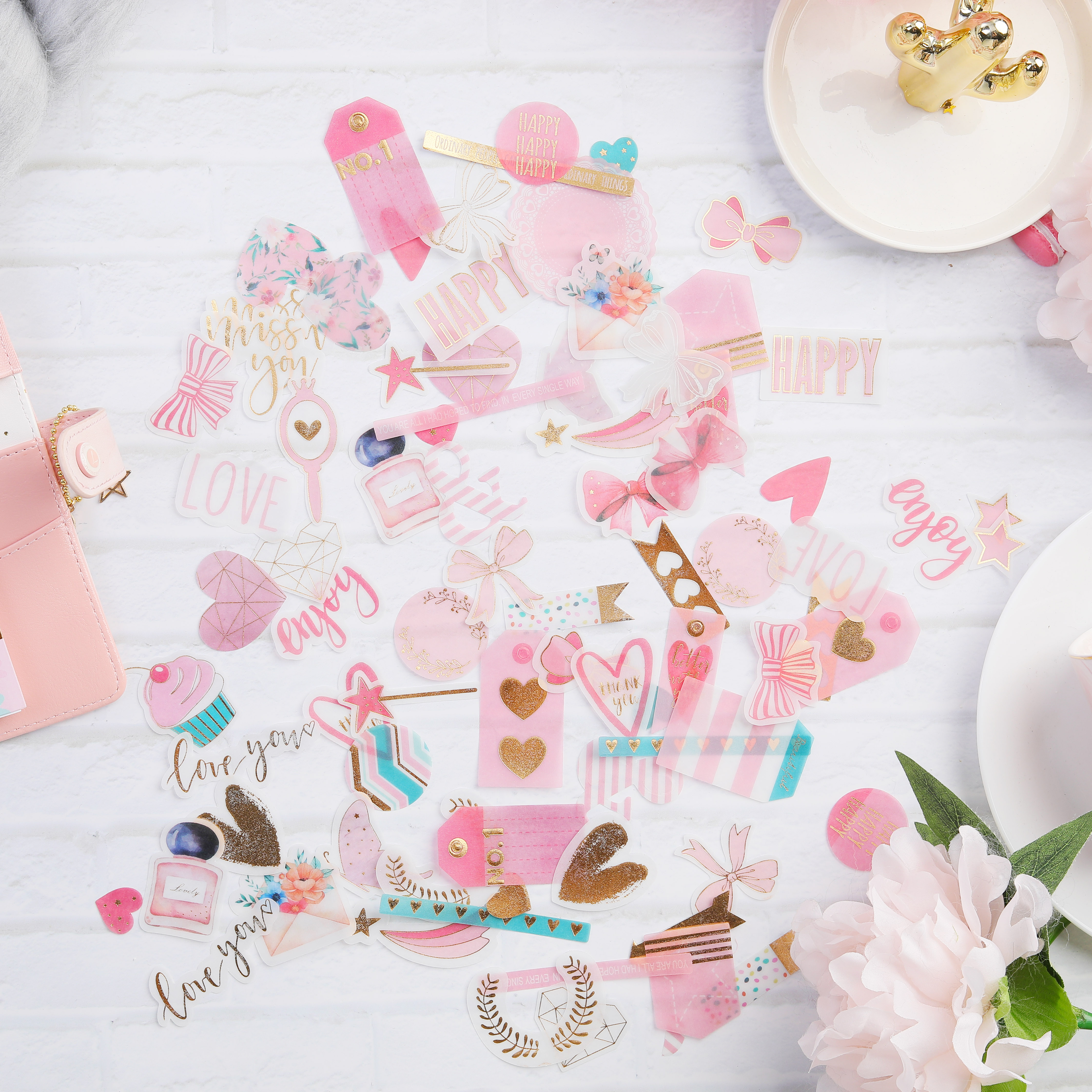 90pc/pack Bronzing Kawaii things lovely bow Perfume bottle Decorative Translucent Stickers DIY Scrapbooking Label Diary Stickers90pc/pack Bronzing Kawaii things lovely bow Perfume bottle Decorative Translucent Stickers DIY Scrapbooking Label Diary Stickers